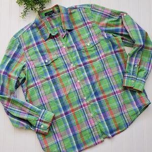 Ralph Lauren Green Madras Plaid Button Up size Lg